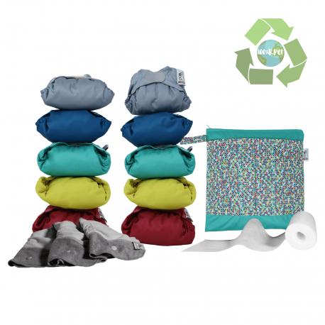 Pack 10 Pañales De Tela Color Vivo